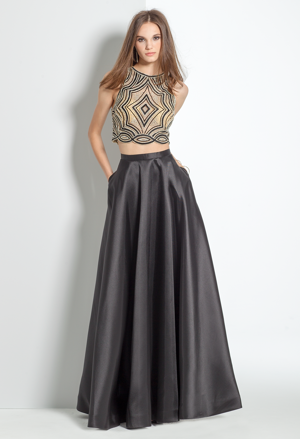 Be A Modern Muse In This Two Piece Evening Dress The Halter Beaded