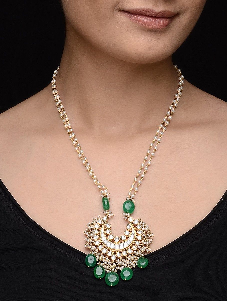 Buy green onyx kundan inspired gold tone silver necklace with pearls buy green onyx kundan inspired gold tone silver necklace with pearls online aloadofball Image collections
