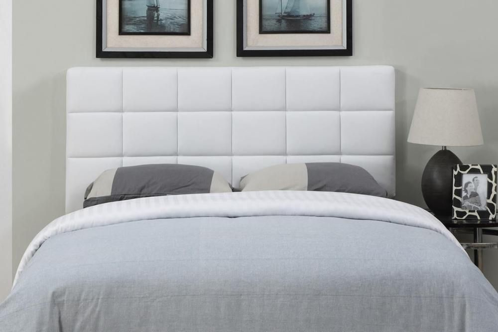 Poundex F9312fq White Faux Leather Headboard Full Queen Size Adjule