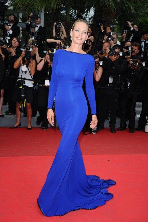 Uma Thurman robe bleue Armani Privé | Cannes 2011
