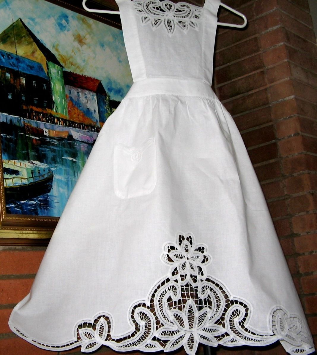 White lace apron ebay - New Victorian White Battenburg Lace Rose Bib Smock Maid Apron X Mas Carol Play