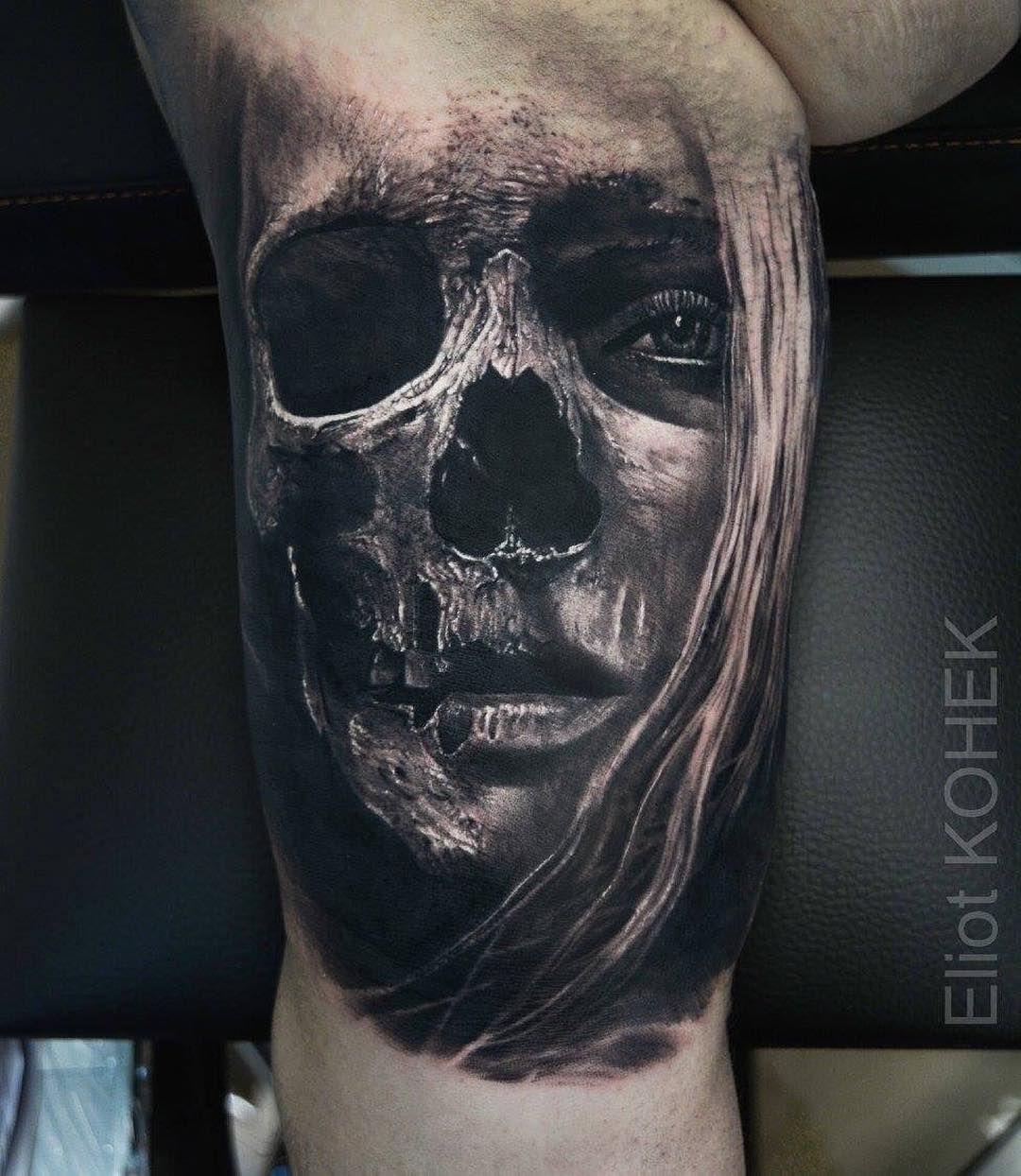 Dark Realism From Eliot Kohek Skull Face Tattoo Face Tattoos