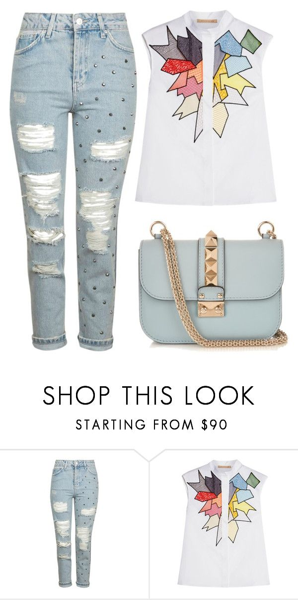"""""""Subtle details #2"""" by mssantos ❤ liked on Polyvore featuring Topshop, Christopher Kane, Valentino, rippedjeans and babyblue"""