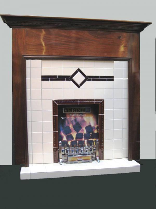 Antique 1930s Mahogany Surround Art Deco Fireplace