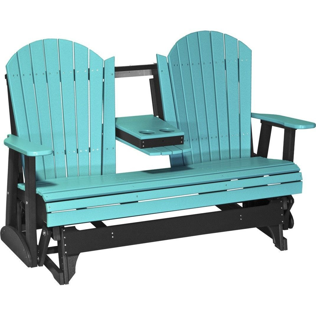 LuxCraft Recycled Plastic 5\' Adirondack Glider Chair With Flip Down ...
