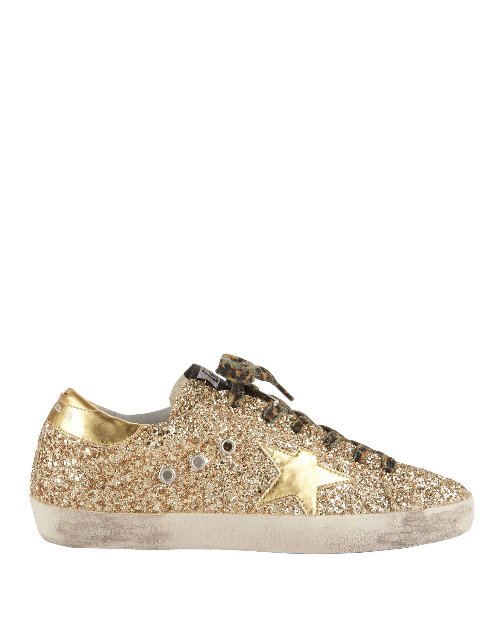 bdd486e95fc2f GOLDEN GOOSE Exclusive Superstar Leopard Lace Gold Glitter Sneakers.   goldengoose  shoes