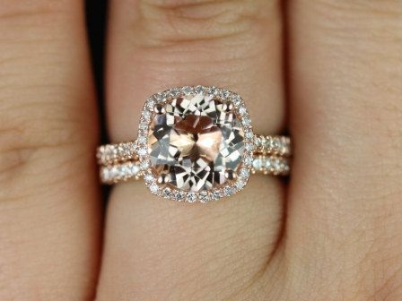 barra 9mm princess size 14kt rose gold thin morganite and diamond cushion halo wedding set other metals and stone options available - Gold And Silver Wedding Rings