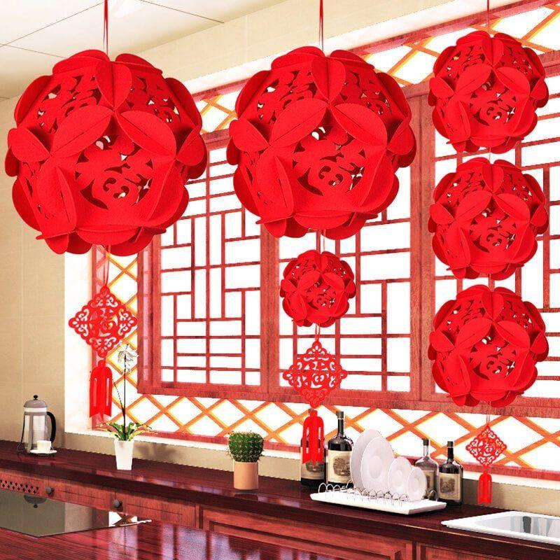 China Fu Letters Lantern Chinese New Year Decorations Christmas