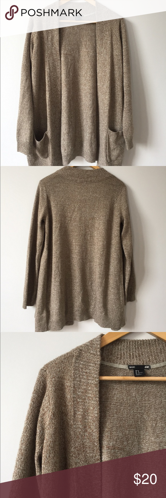 H&M Brown Open Front Cardigan Sweater Size M | Open front cardigan ...