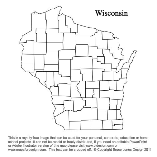Wisconsin US State County map, blank,printable, royalty free for ...