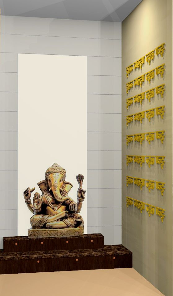 Puja Room Right Mantra 3 D Wall Puja Room Pooja Rooms