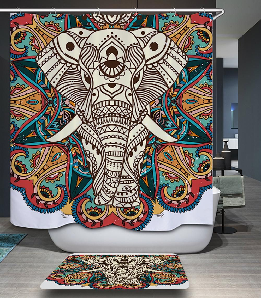 India Elephant 3d Olyester Waterproof Shower Curtain Modern