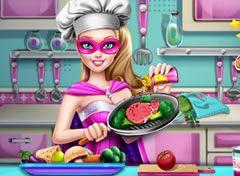 Barbie Super Princesa Preparando O Almoco Barbie Super Princesa Barbie Jogos De Princesas