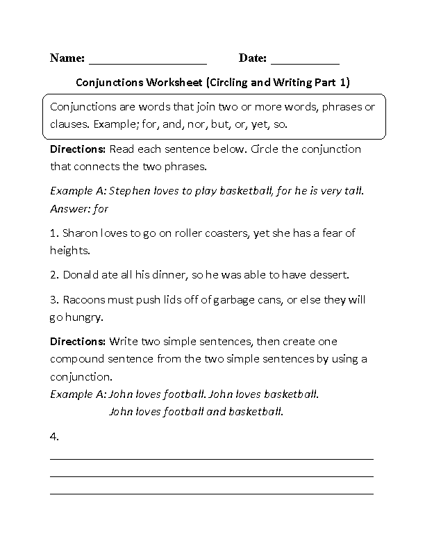 Conjunctions Worksheet Circling and Writing writing – Conjunctions Worksheet 5th Grade