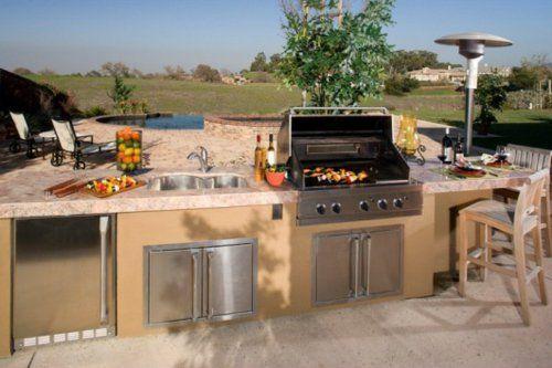 Outdoor Küche mit Grill mamor platte baum Gartenanlagen Pinterest