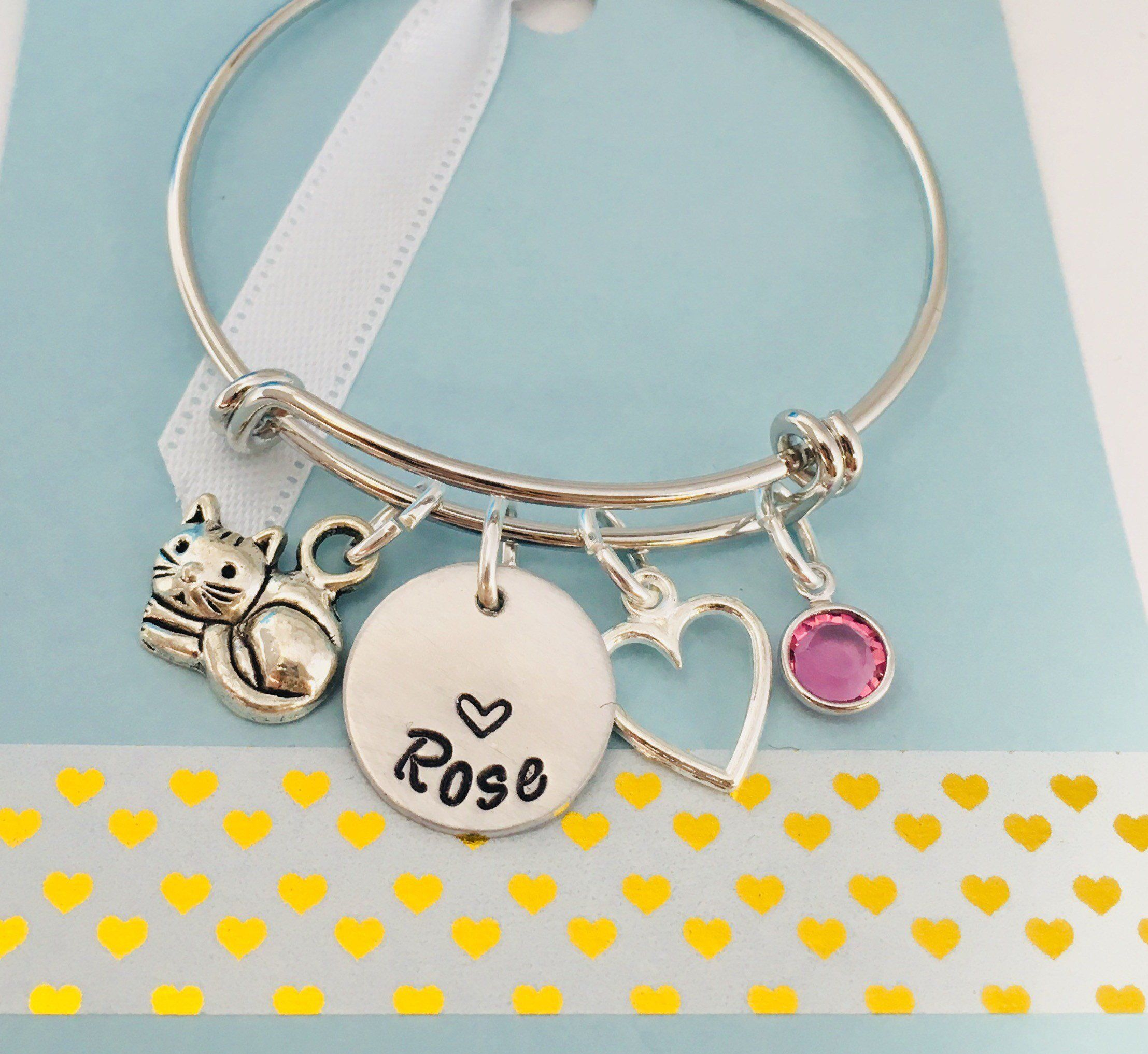 Cat charm bracelet silver personalized cat bracelet cat name