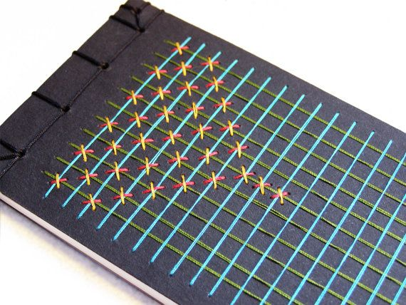 Geometric Notebook. Embroidered Jotter by FabulousCatPapers