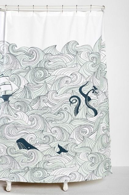 Scrimshaw Art: Beach Style Shower Curtains By Urban Outfitters