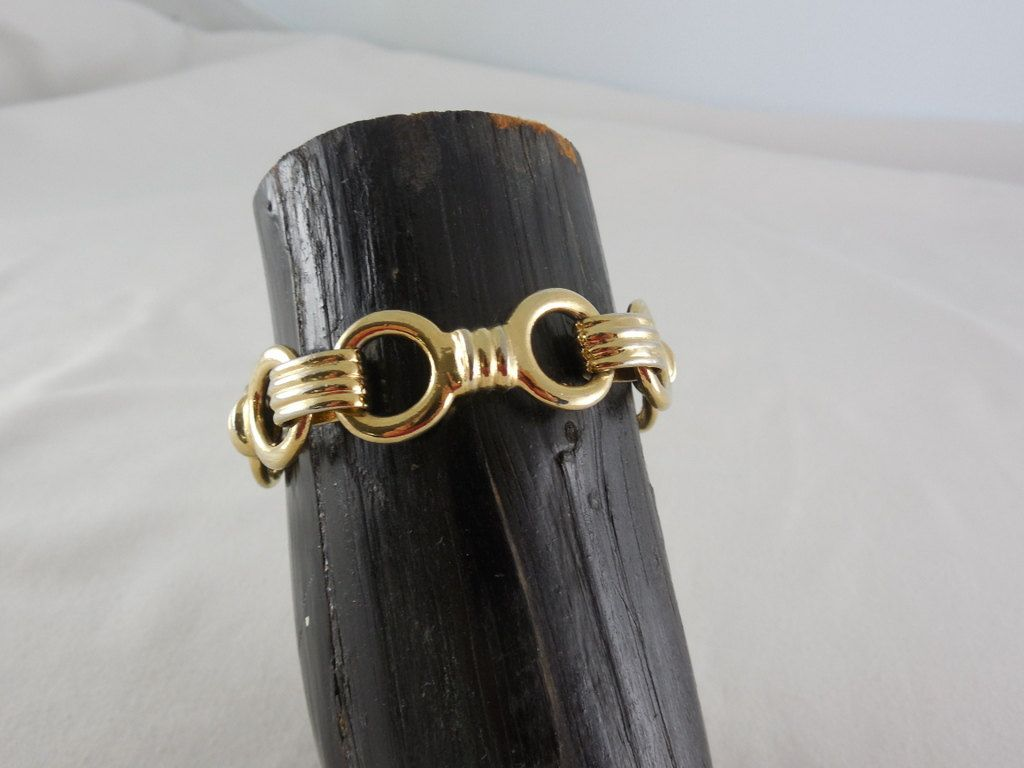 Vintage Retro Ben Amun Signed Gold Tone Links Bracelet by Dockb30Crafts on Etsy