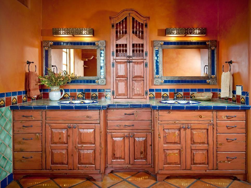 10 spanish-inspired rooms | master bathroom vanity, tile flooring