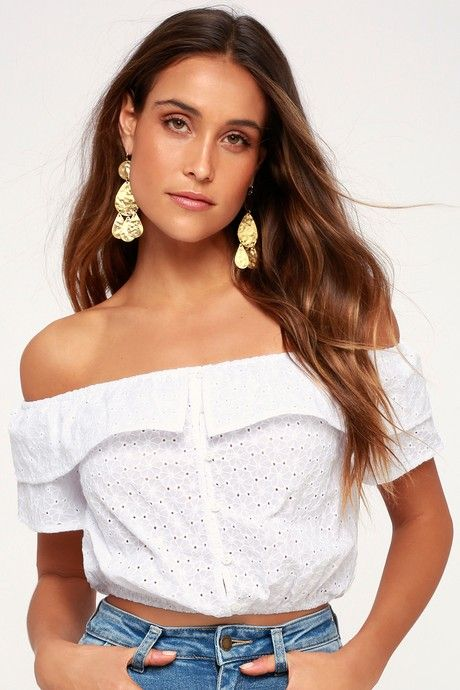 26b2f2cba80c7 Charming Choice White Eyelet Off-the-Shoulder Crop Top