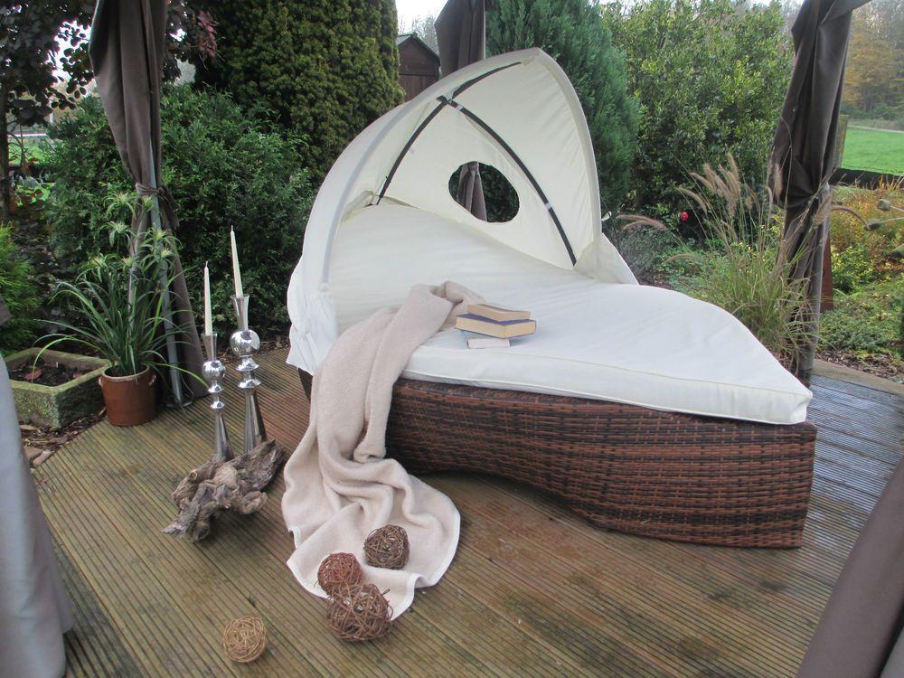 Gartenliege Sonneninsel Schiff Polyrattan Gartenlounge Liegeinsel Garten Lounge Gartenliege Lounge