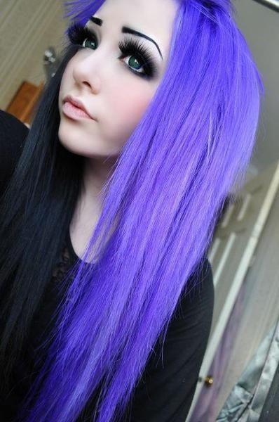 Half Black Half Purple Purple Hair Scene Hair Emo Hair