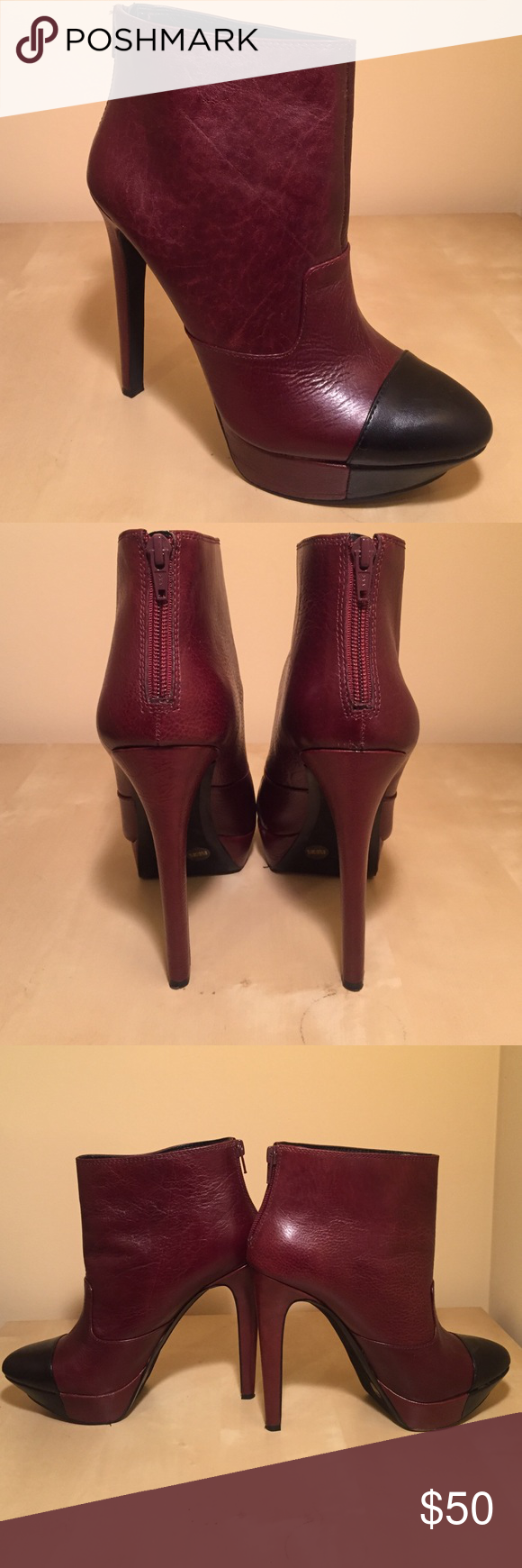 Jessica Simpson Ankle Boots JS-ESSAS. Color: Burgundy. Material: Belluci Leather. Gently used, worn 3 times. Jessica Simpson Shoes Heeled Boots