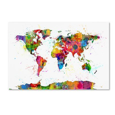 Trademark art map of the world watercolor by michael tompsett trademark art map of the world watercolor by michael tompsett graphic art on wrapped canvas wayfair watercolor canvaspaint splashcanvas gumiabroncs Choice Image