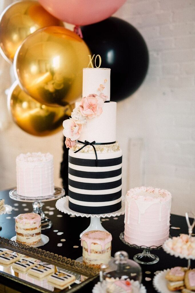 91180a0a3c12 CHIC BLACK   GOLD CAKE AND CHAMPAGNE GIRLS NIGHT