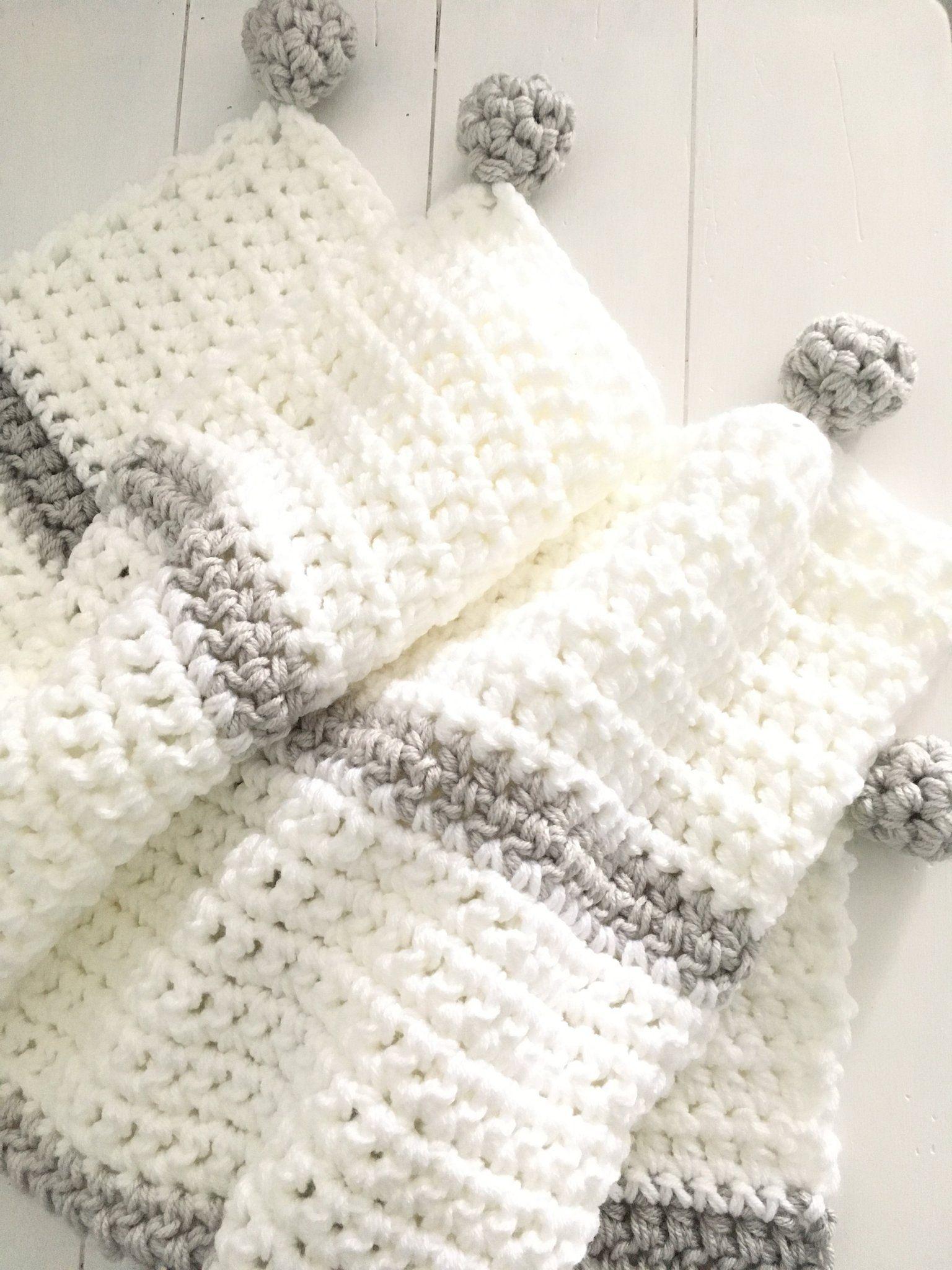 Grey and White Neutral Chunky Handmade Crochet Baby Blanket ...