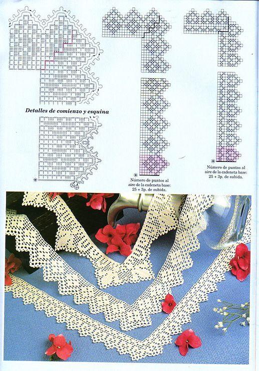 wonderful filet crochet edgings | Randas de crochet | Pinterest ...