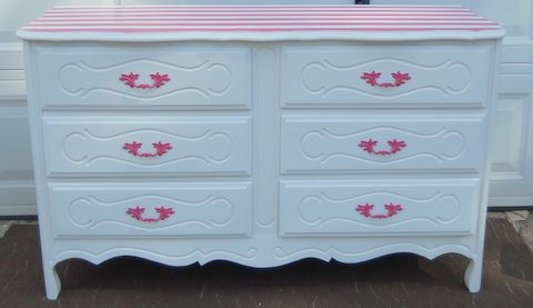 French Provincial dresser. Stripped using Frog tape.