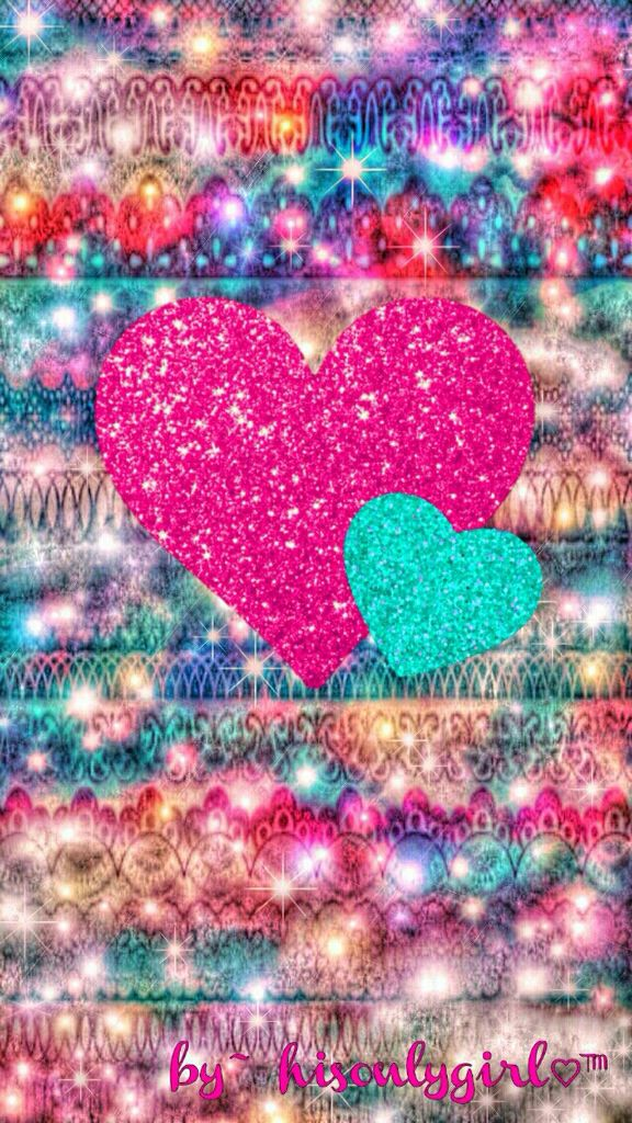 Cocoppa Wallpaper Girl Colorful Hearts Wallpapers Sparkle Wallpaper