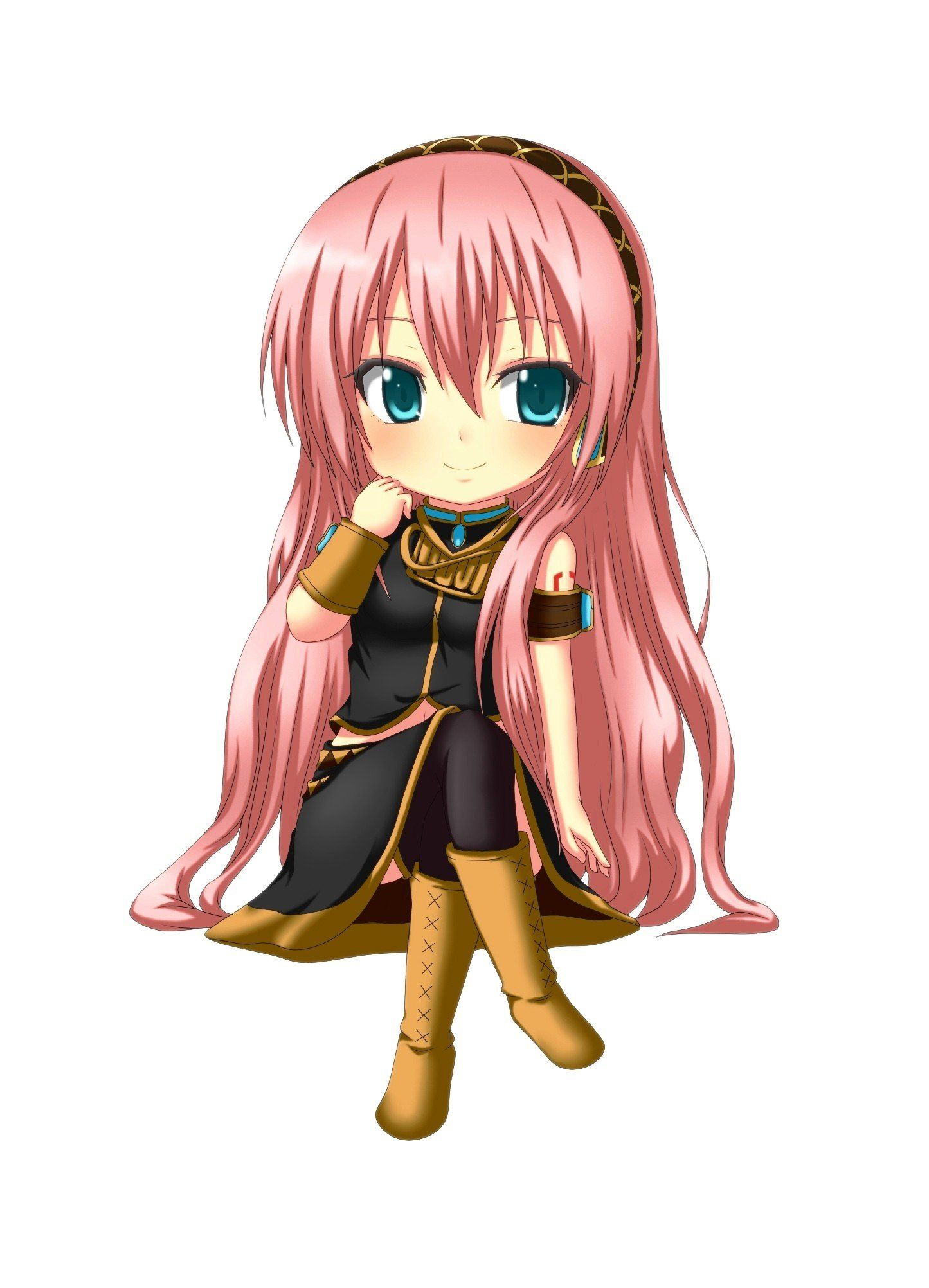 Vocaloid Megurine Luka chibi long hair pink hair aqua eyes