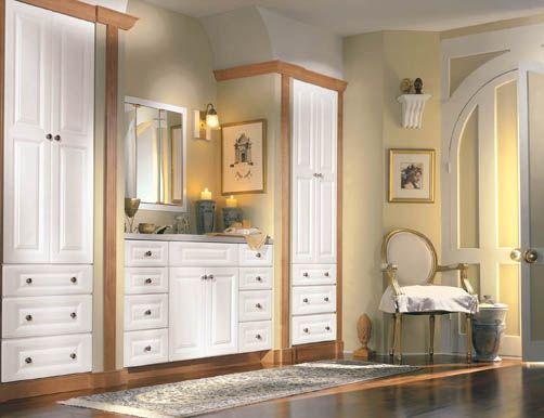 Brighton Square With Classic Drawer Front Thermofoil, White With Light  Maple Moulding · Bathroom Vanity ...