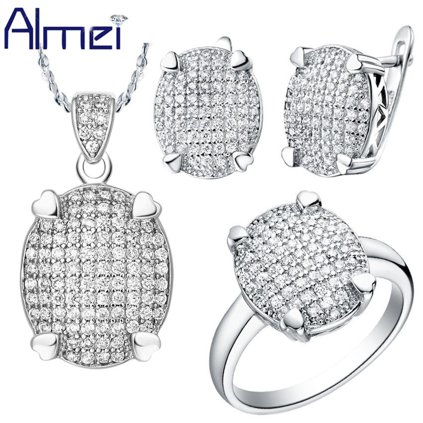 Find More Jewelry Sets Information about Almei  Bridal Jewelry Sets 925 Silver Zircon Wedding Accessories Bride Necklace Set for Women Earrings 2016 New Wholesale T005,High Quality jewelry chest,China accessories fascinators Suppliers, Cheap jewelry sack from ULove Fashion Jewelry Store on Aliexpress.com