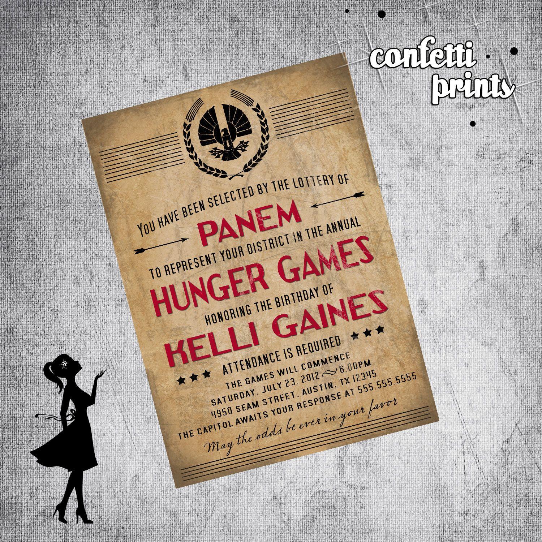 Printable Birthday Invitation - HUNGER GAMES. $12.00, via Etsy.   hg ...