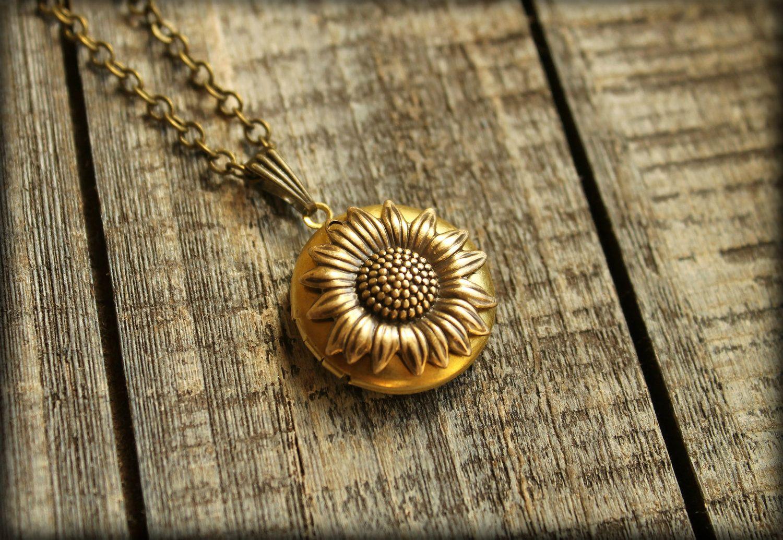 Sunflower Locket Necklace by saffronandsaege on Etsy