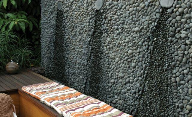 textur design modernen gartengestaltung wand schwarz steine deko