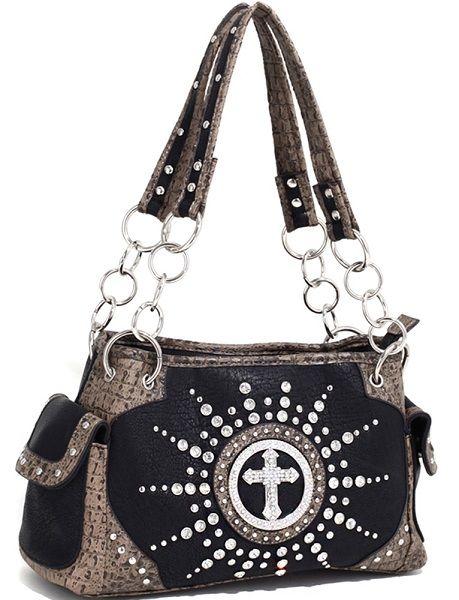Western Rhinestone Purse Shoulder Bag Sunburst Cross Stud Croco Handbag Black