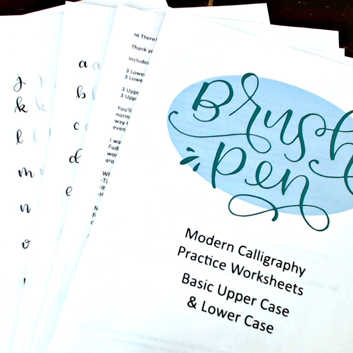 Brush Pen Modern Calligraphy Practice Worksheet Packet