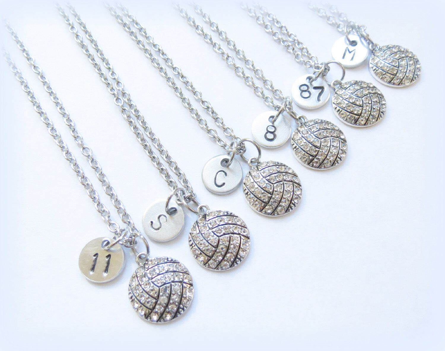Personalized Volleyball Necklace Jewelry Volleyball Team Jewelry Volleyball Team Gift Initial Or Jersey Number Volleyball Necklace With Images Volleyball Necklace Volleyball Jewelry Volleyball Jewelry Necklace