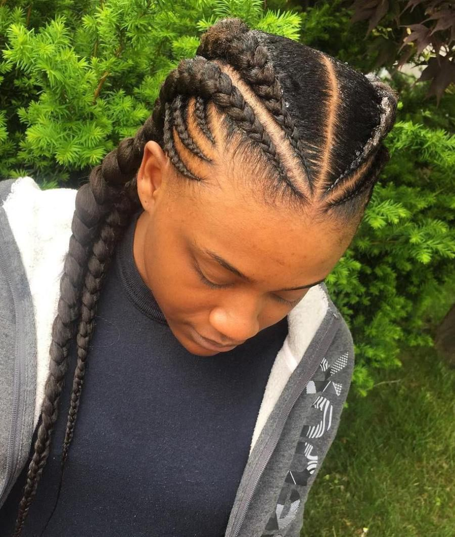 Symmetrical Hairstyle With Ghana Braids