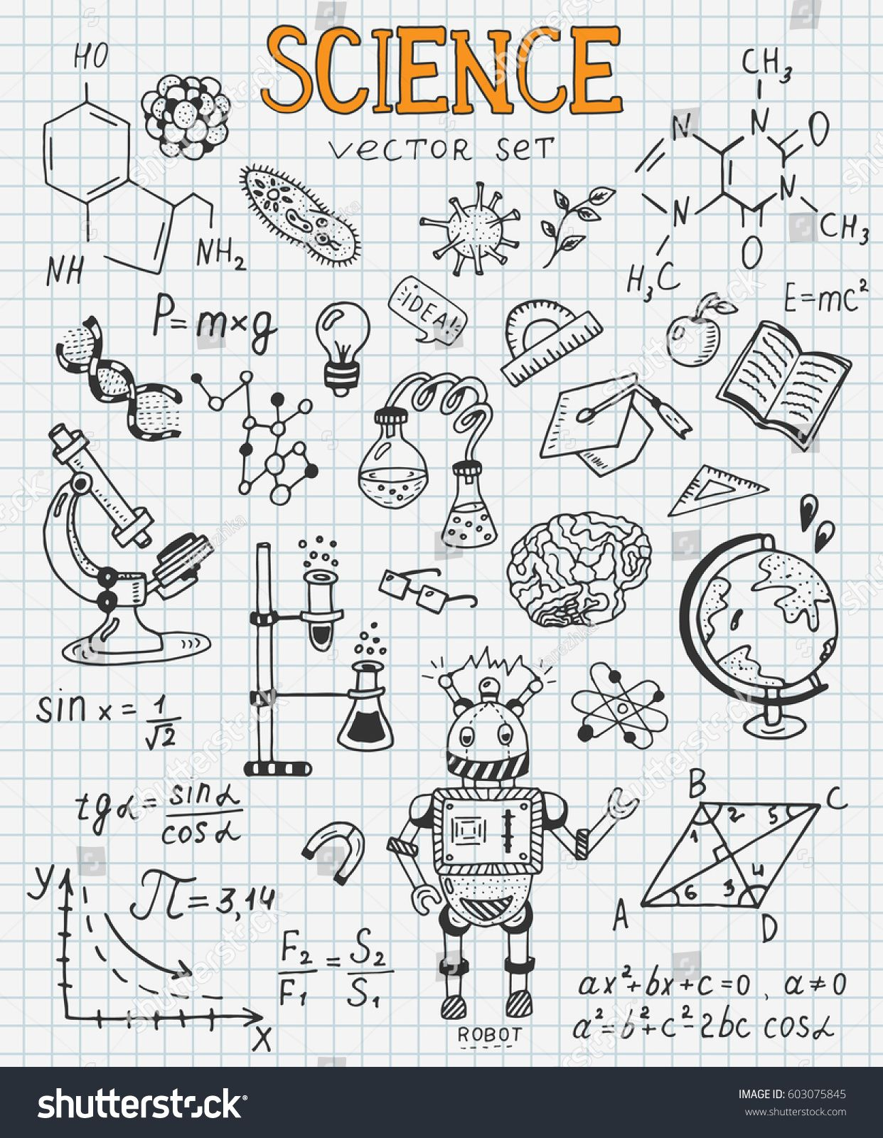 Science Education Doodle Set Of Biology Mathematics