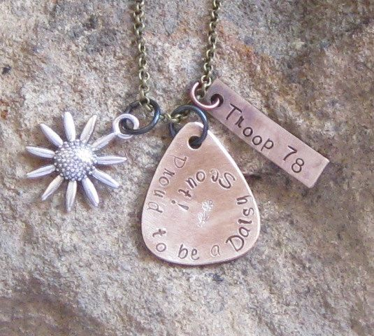 Daisy Scout Hand Stamped Troop Number by lilybrookevintage on Etsy, $24.00