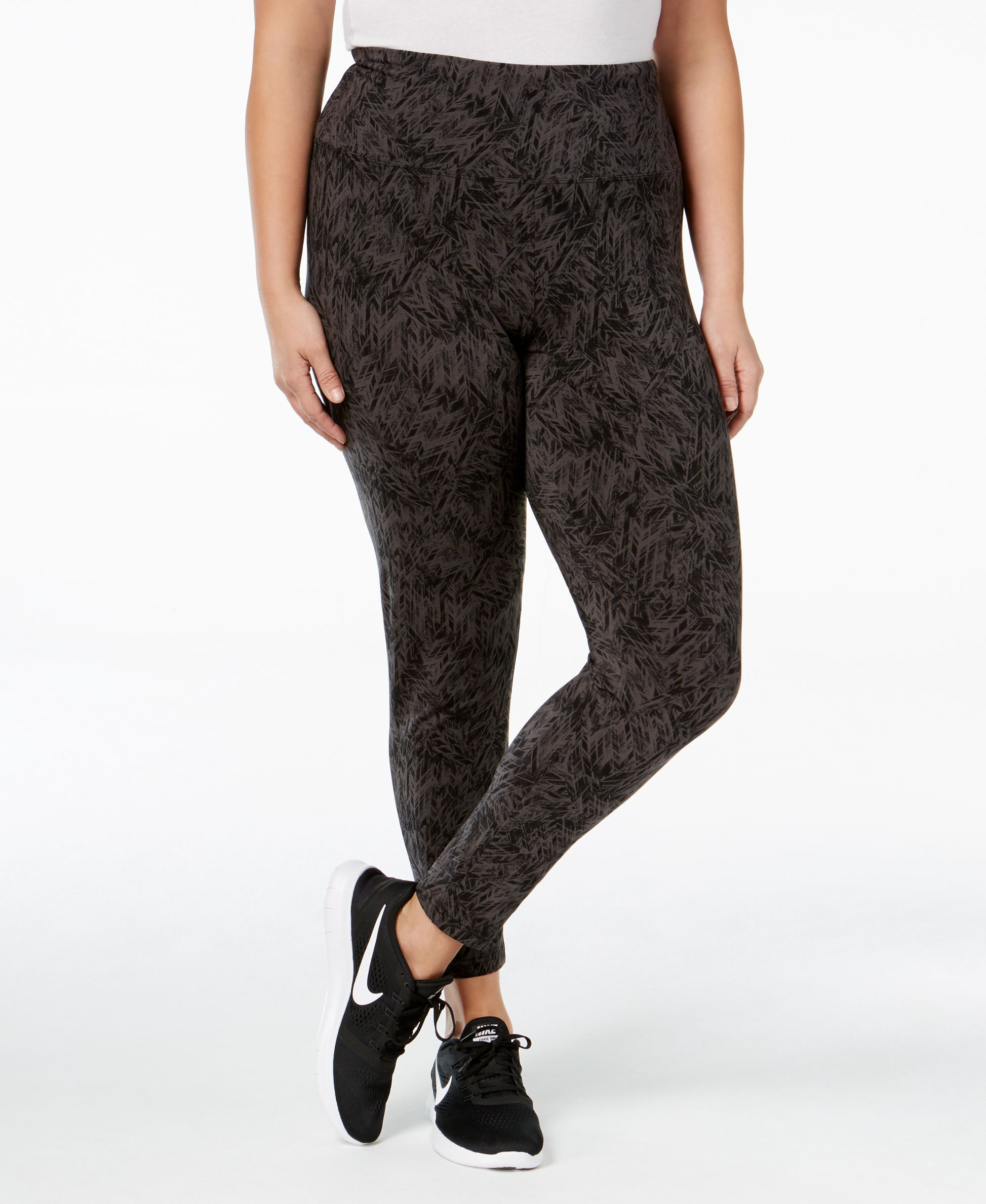 Style & Co. Plus Size Printed Tummy-Control Yoga Leggings, Only at Macy's
