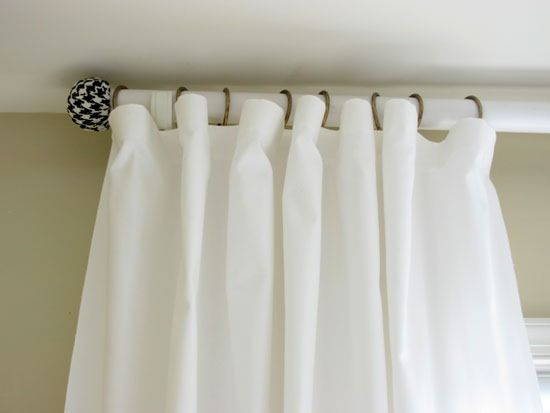 How To Make A Curtain Rod And Finials With A Tennis Ball Diy Curtain Rods Curtain Rods Diy Curtains