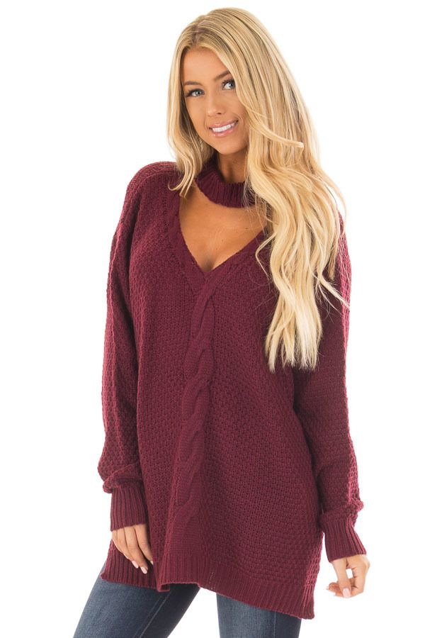 1359313a6e71 Lime Lush Boutique - Burgundy Cable Knit V Neck Sweater with Choker Band