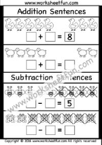 addition subtraction sentences three worksheets free. Black Bedroom Furniture Sets. Home Design Ideas